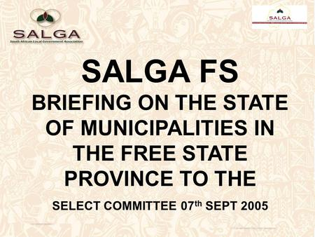 SALGA FS BRIEFING ON THE STATE OF MUNICIPALITIES IN THE FREE STATE PROVINCE TO THE SELECT COMMITTEE 07 th SEPT 2005.
