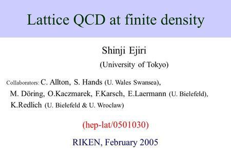 Lattice QCD at finite density
