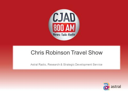 Chris Robinson Travel Show Astral Radio, Research & Strategic Development Service.