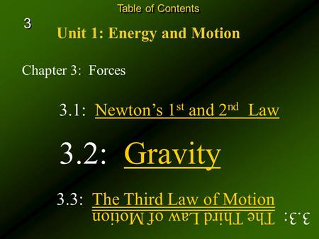 Chapter 3: Forces Unit 1: Energy and Motion Table of Contents 3.3: The Third Law of MotionThe Third Law of Motion 3.1: Newton's 1 st and 2 nd Law 3.2: