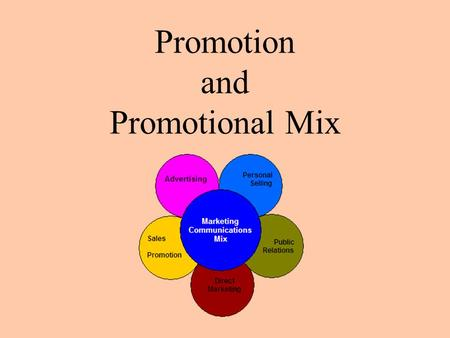 Promotion and Promotional Mix. Lesson Objectives Explain the role of promotion in business and marketing Identify the types of promotion Describe the.
