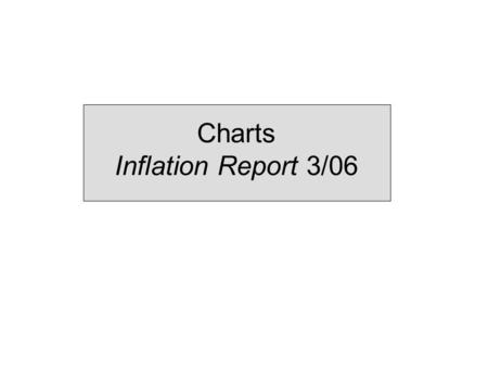 Charts Inflation Report 3/06. 1 Monetary policy assessments and strategy.