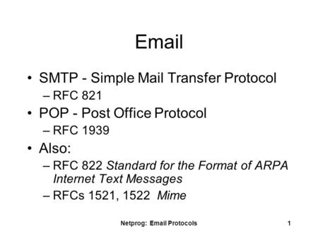 Netprog: Email Protocols1 Email SMTP - Simple Mail Transfer Protocol –RFC 821 POP - Post Office Protocol –RFC 1939 Also: –RFC 822 Standard for the Format.