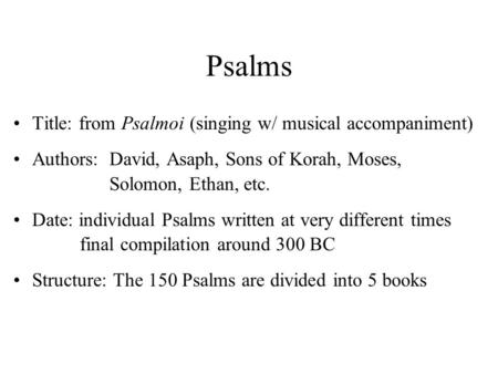 dating and authorship of psalms