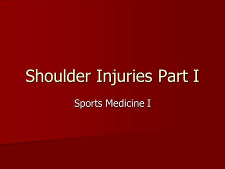 Shoulder Injuries Part I