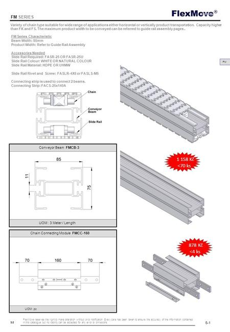 FlexMove 9.8 FM SERIES FM FM Series Characteristic Beam Width: 85mm Product Width: Refer to Guide Rail Assembly Accessories Needed Slide Rail Required: