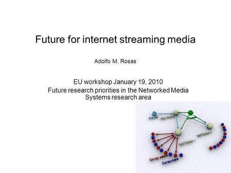 Future for internet streaming media Adolfo M. Rosas EU workshop January 19, 2010 Future research priorities in the Networked Media Systems research area.