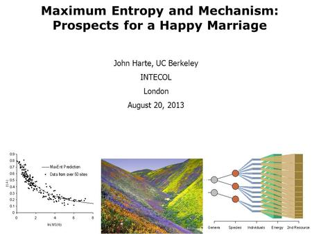 John Harte, UC Berkeley INTECOL London August 20, 2013 Maximum Entropy and Mechanism: Prospects for a Happy Marriage.