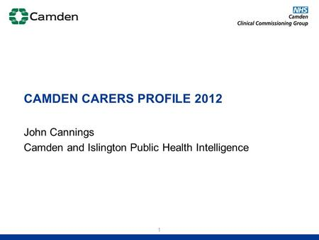 John Cannings Camden and Islington Public Health Intelligence CAMDEN CARERS PROFILE 2012 1.