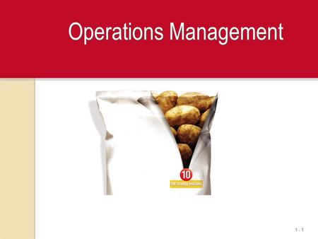 1 - 1 Operations Management. 1 - 2 Production Management A production system is defined as a user of resources to transform inputs into some desired outputs.