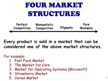 Every product is sold in a market that can be considered one of the above market structures. For example: 1.Fast Food Market 2.The Market for Cars 3.Market.