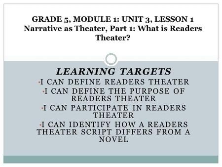 LEARNING TARGETS I CAN DEFINE READERS THEATER I CAN DEFINE THE PURPOSE OF READERS THEATER I CAN PARTICIPATE IN READERS THEATER I CAN IDENTIFY HOW A READERS.