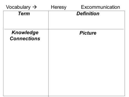 Knowledge Connections Definition Picture Term Vocabulary  HeresyExcommunication.