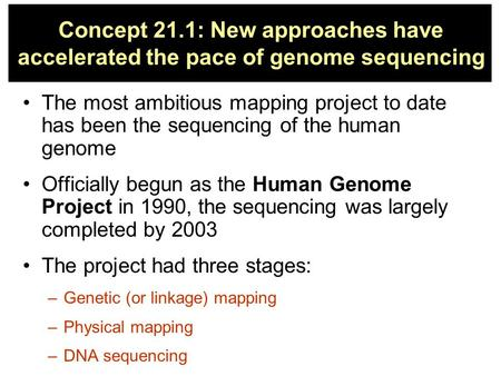 Concept 21.1: New approaches have accelerated the pace of genome sequencing The most ambitious mapping project to date has been the sequencing of the human.