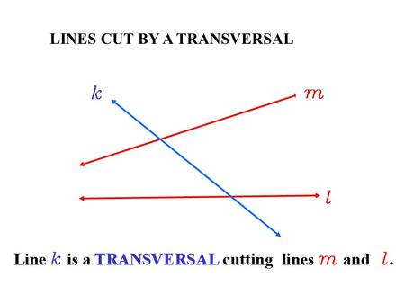 LINES CUT BY A TRANSVERSAL. 3Geometry Lesson: Proving Lines are Parallel.