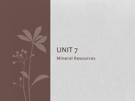 Unit 7 Mineral Resources.