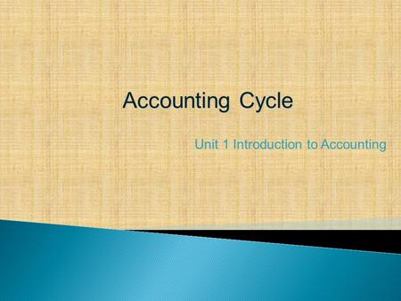 Accounting Cycle Unit 1 Introduction to Accounting.