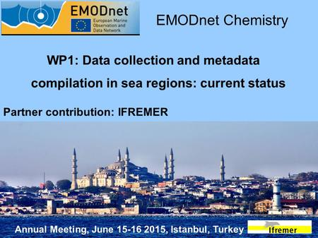 Annual Meeting, June 15-16 2015, Istanbul, Turkey WP1: Data collection and metadata compilation in sea regions: current status EMODnet Chemistry Partner.