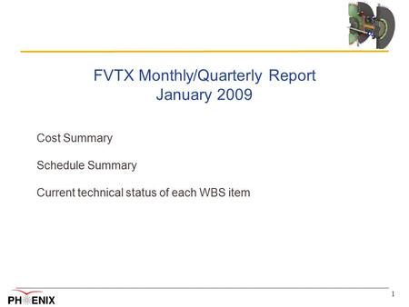 1 FVTX Monthly/Quarterly Report January 2009 Cost Summary Schedule Summary Current technical status of each WBS item.