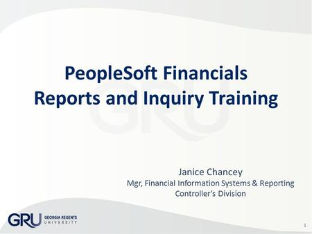 1 Janice Chancey Mgr, Financial Information Systems & Reporting Controller's Division PeopleSoft Financials Reports and Inquiry Training.