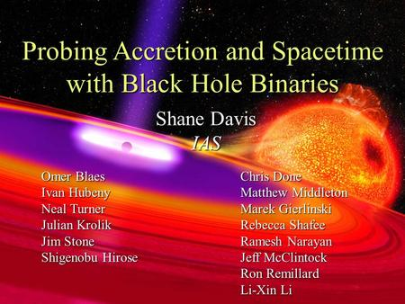 Shane Davis IAS Probing Accretion and Spacetime with Black Hole Binaries Omer Blaes Ivan Hubeny Neal Turner Julian Krolik Jim Stone Shigenobu Hirose Chris.
