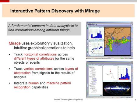 Lucent Technologies - Proprietary 1 Interactive Pattern Discovery with Mirage Mirage uses exploratory visualization, intuitive graphical operations to.