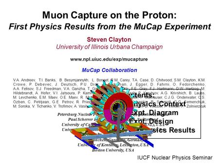 Muon Capture on the Proton: First Physics Results from the MuCap Experiment Steven Clayton University of Illinois Urbana Champaign www.npl.uiuc.edu/exp/mucapture.