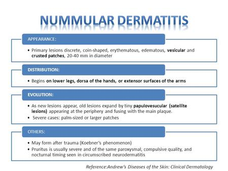 Primary lesions discrete, coin-shaped, erythematous, edematous, vesicular and crusted patches, 20-40 mm in diameter APPEARANCE: Begins on lower legs, dorsa.
