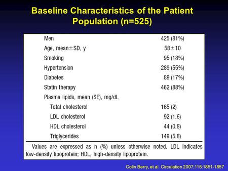 Baseline Characteristics of the Patient Population (n=525) Colin Berry, et al. Circulation 2007;115:1851-1857.