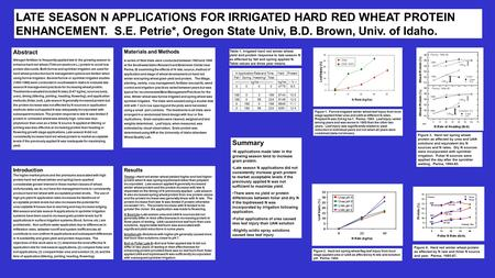 LATE SEASON N APPLICATIONS FOR IRRIGATED HARD RED WHEAT PROTEIN ENHANCEMENT. S.E. Petrie*, Oregon State Univ, B.D. Brown, Univ. of Idaho. Introduction.