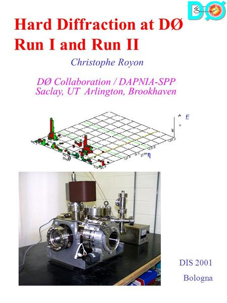 DIS 2001 Bologna Hard Diffraction at DØ Run I and Run II Christophe Royon DØ Collaboration / DAPNIA-SPP Saclay, UT Arlington, Brookhaven.