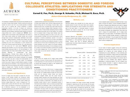 CULTURAL PERCEPTIONS BETWEEN DOMESTIC AND FOREIGN COLLEGIATE ATHLETES: IMPLICATIONS FOR STRENGTH AND CONDITIONING PRACTITIONERS The landscape of collegiate.