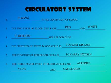 CIRCULATORY SYSTEM 1.________________________ IS THE LIQUID PART OF BLOOD. 2.THE TWO TYPES OF BLOOD CELLS ARE__________________ AND ________________.