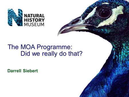 Darrell Siebert The MOA Programme: Did we really do that?