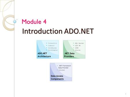 Module 4 Introduction ADO.NET 1. Objective Explain the role of ADO.NET Describe data access architecture in.NET Differentiate between DAO, RDO, ADO and.