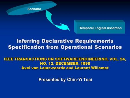 Inferring Declarative Requirements Specification from Operational Scenarios IEEE TRANSACTIONS ON SOFTWARE ENGINEERING, VOL. 24, NO. 12, DECEMBER, 1998.
