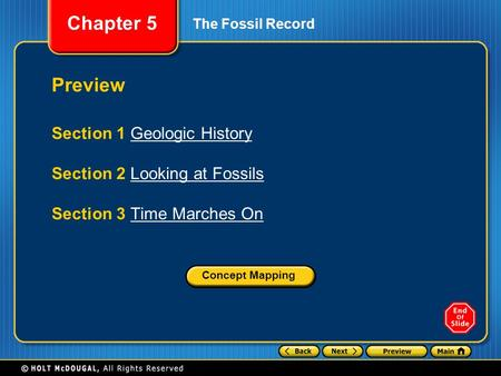Chapter 5 The Fossil Record Preview Section 1 Geologic HistoryGeologic History Section 2 Looking at FossilsLooking at Fossils Section 3 Time Marches OnTime.