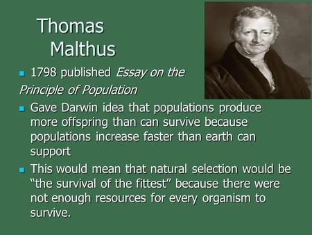 Thomas Malthus Thomas Malthus 1798 published Essay on the 1798 published Essay on the Principle of Population Gave Darwin idea that populations produce.