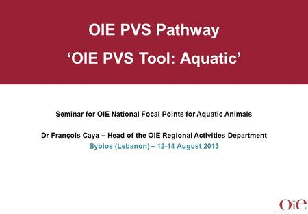 Seminar for OIE National Focal Points for Aquatic Animals Dr François Caya – Head of the OIE Regional Activities Department Byblos (Lebanon) – 12-14 August.