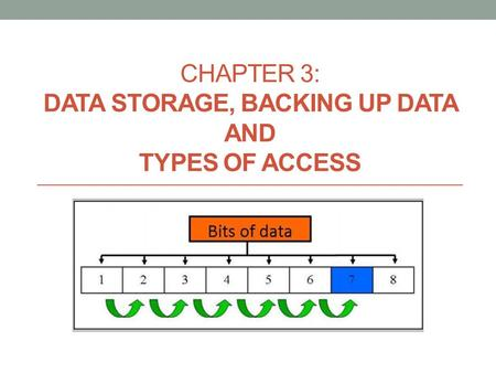 CHAPTER 3: DATA STORAGE, BACKING UP DATA AND TYPES OF ACCESS.