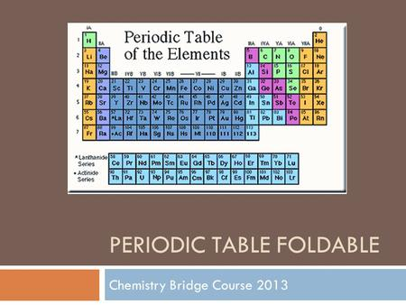 PERIODIC TABLE FOLDABLE Chemistry Bridge Course 2013.