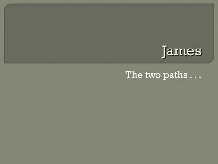"The two paths... James.  ""From James, to the twelve tribes of the Dispersion"" (1:1)  Is this James one of Jesus' brothers?  Genre: Jewish wisdom literature."