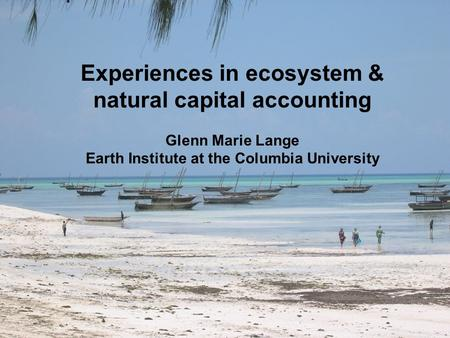 Experiences in ecosystem & natural capital accounting Glenn Marie Lange Earth Institute at the Columbia University.