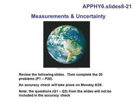 Measurements & Uncertainty