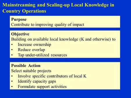 Mainstreaming and Scaling-up Local Knowledge in Country Operations Purpose Contribute to improving quality of impact Objective Building on available local.