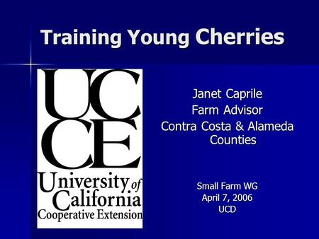 Training Young Cherries Janet Caprile Farm Advisor Contra Costa & Alameda Counties Small Farm WG April 7, 2006 UCD.