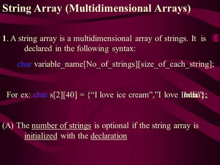 String Array (Multidimensional Arrays) 1. A string array is a multidimensional array of strings. It is declared in the following syntax: char variable_name[No_of_strings][size_of_each_string];