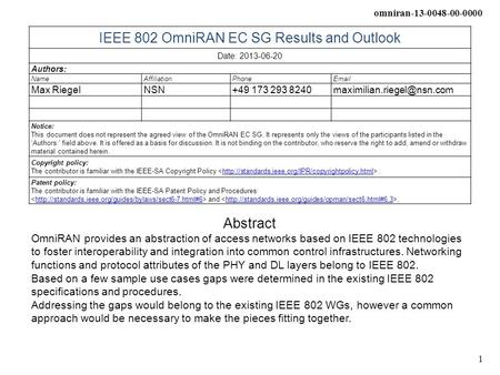 Omniran-13-0048-00-0000 1 IEEE 802 OmniRAN EC SG Results and Outlook Date: 2013-06-20 Authors: NameAffiliationPhone Max RiegelNSN+49 173 293