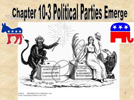 1. The Rise of Political Parties In 1789, when Washington took office there was no political party. By the time he retired there were two political parties.