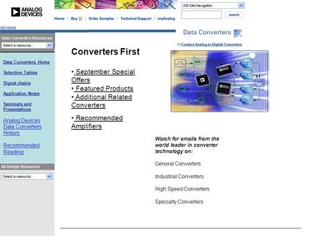 Data Converters Home Selection Tables Signal chains Application Notes Seminars and Presentations Analog Devices Data Converters History Recommended Reading.